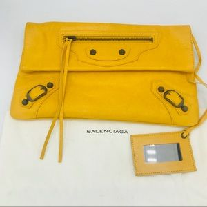 NEW! BALENCIAGA MUSTARD YELLOW MOTOCROSS CLUTCH